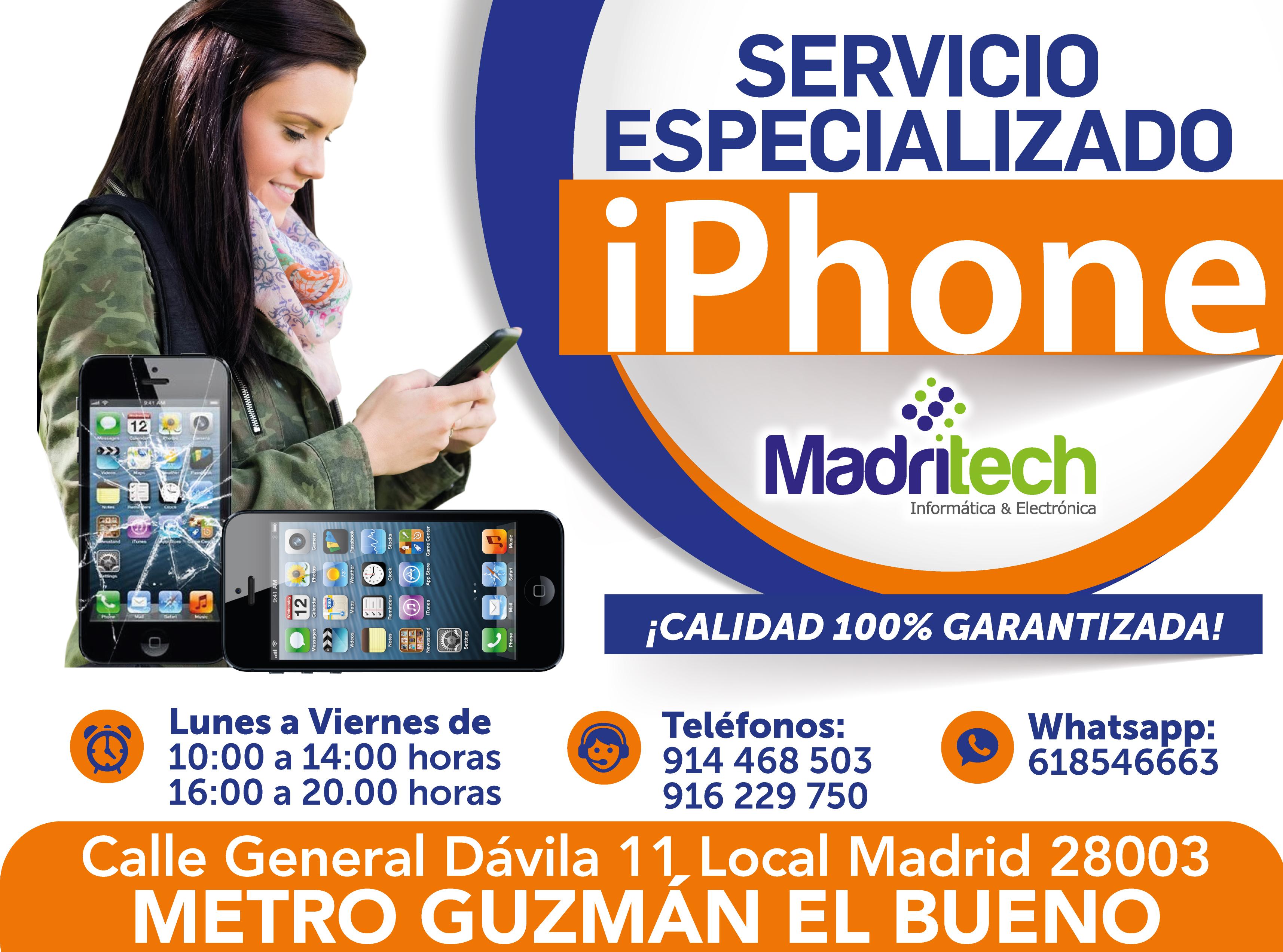 servicio especializado iphone madritech