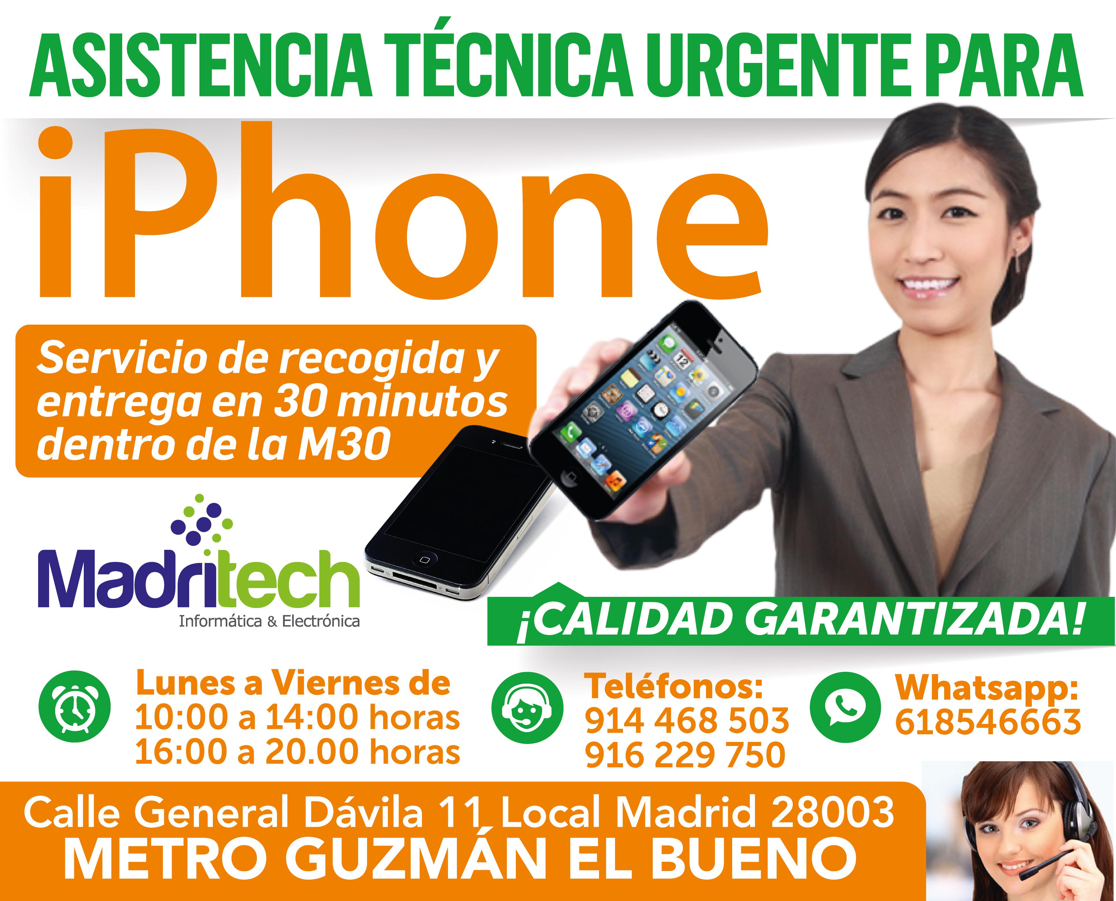 asistencia tecnica urgente para iphone madritech