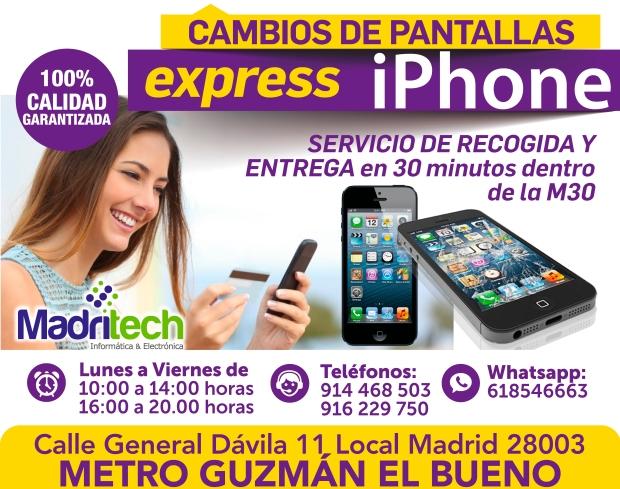 cambios de pantalla express iphone madritech